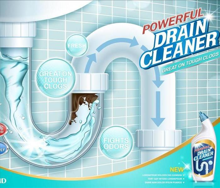 Drain cleaner ads, water pipe detergent with clear pipes section in 3d illustration